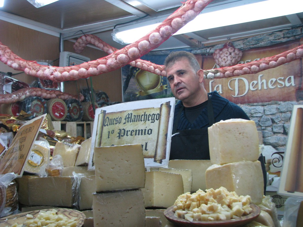 Stall selling Manchego cheese