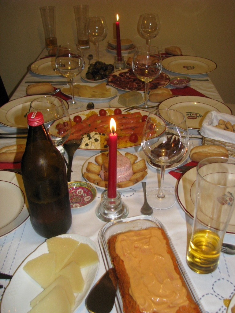 Christmas Eve dinner at my friend, Chelo's, apartment in Seville.