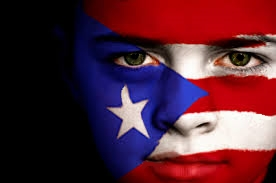 Puerto Rico Flag on Face Painted